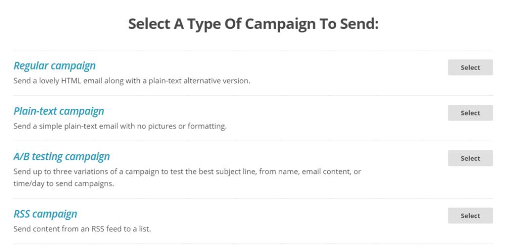 7 mailchimp выбор типа кампании